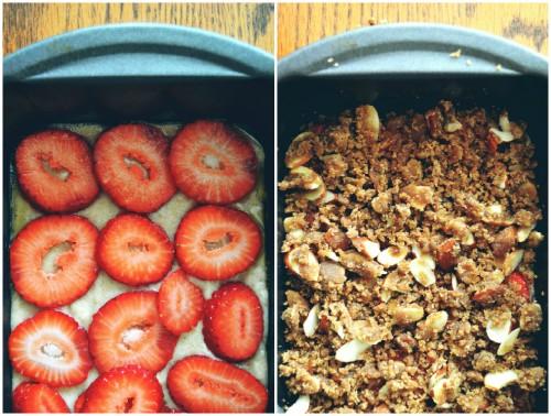 Pastel de fresas y almendras collage